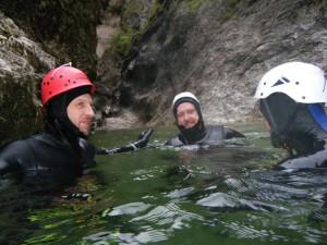 Die bisher anstrengendsten Kilometer des Katar Projekts: 2,4km Canyoning in der Strubklamm, Salzburg.